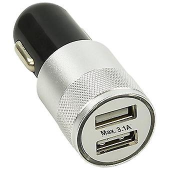 autolader USB dubbel 12/24 Volt 3,1A zwart/zilver