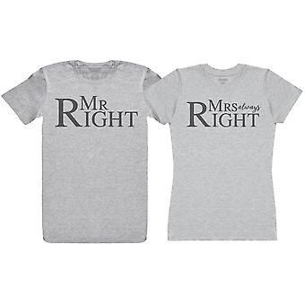 Mr Right & Mrs Always Right - Pari T-paita Lahjasetti