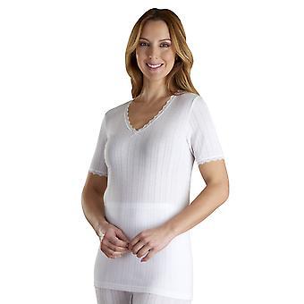 Slenderella VUW802 Women's Vedonis White Cotton Thermal Knit Short Sleeve Top