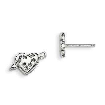925 Sterling Silver Solid Polerade Post Örhängen Love Heart Mini för pojkar eller flickor Örhängen
