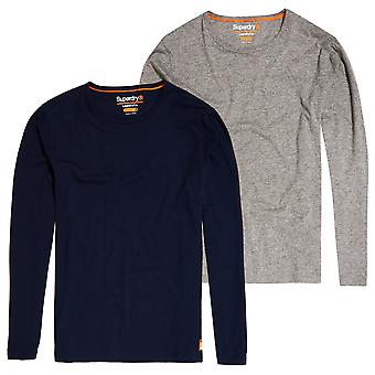 Superdry SD Laundry Organic Cotton Slim T-Shirt Double Pack - Laundry Navy / Laundry Grey Marl