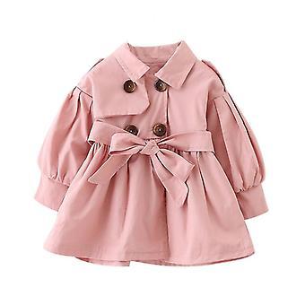 Baby coat med bälte bomull höst våren baby flicka kläder, enfärgad spädbarn