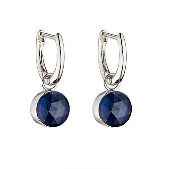 Fiorelli Silver Rose Cut Dark Blue Crystal Earrings E5840L