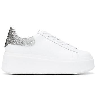 Sneaker cu Wedge Ash Moby Alb cu argint Glitter
