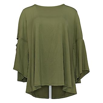 H by Halston Women's Plus Top 3/4 Sleeve W/Cut-Out Detail Green A305345