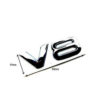 Chrome Audi V8 Side Wing Stick On Badge Sticker For All V8