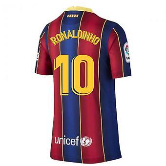 2020-2021 Barcelona Home Shirt (Kids) (RONALDINHO 10)