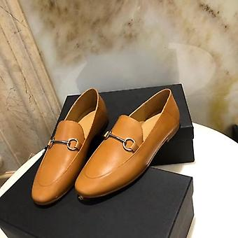 Summer Office Simple Genuine Leather Slip-on Loafers Chaussures pour femmes