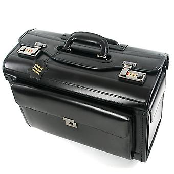 Genuine Leather Pilot Rolling Luggage Cabin Airline Stewardess Travel Bag On