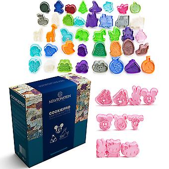Cookiepro Cartoon Edition - 50pc Set Van Ejector Punch Cookie Cutters in verschillende thema's - Mickey Mouse Minnie Mouse Hello Kitty Winnie The Pooh Mif