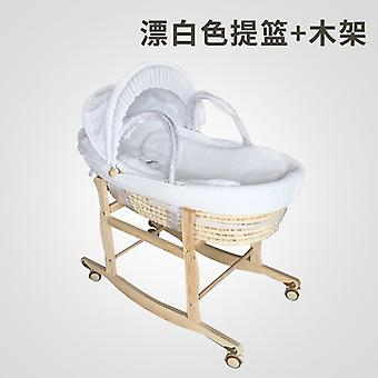 Longer Portable Baby Basket Cradle Bed, Cotton Bassinet Rocking Chair