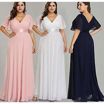 Plus Size, Long Pretty V-neck Chiffon Gowns
