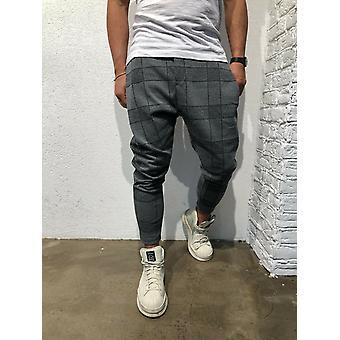 Mężczyźni&s Jogger Pants Fitness Plaid Casual Spodnie proste