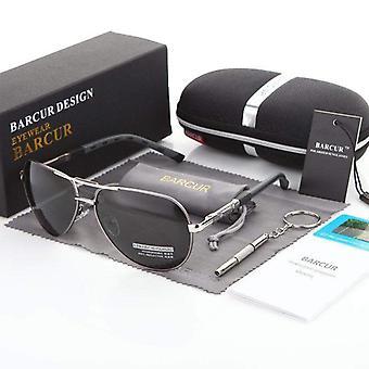 Silver & gun metal barcur aviator sunglasses