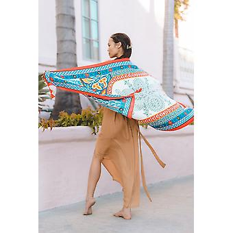 Blanket Scarf In Geometric Floral Print