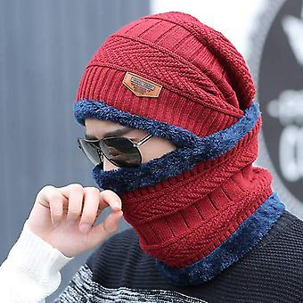 Fashion 2pcs Scarf Men's Cap Set And Knitted Warm Winter Hat