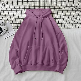 Woman's Sweatshirts, Solid Female Hooded Pullovers, Cotton Thicken Warm