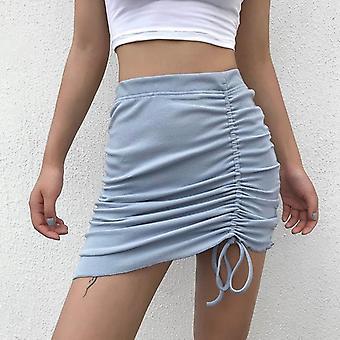 Ribbed Bodycon Elastic High Waist Skirt, Drawstring Mini Women Asymmetrical