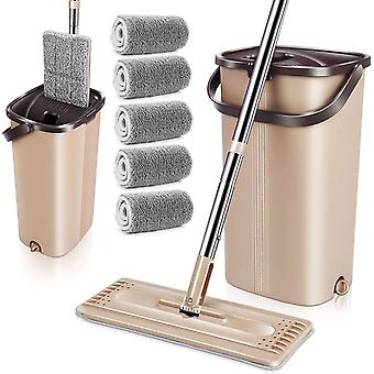 Microfibre Flat Mop and Bucket Sets with 5 Microfiber Mop Pads Auto-Clean Self Wash