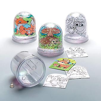 Baker ross ar618 woodland animal colour-in snow globes value pack — creative art and craft supplie