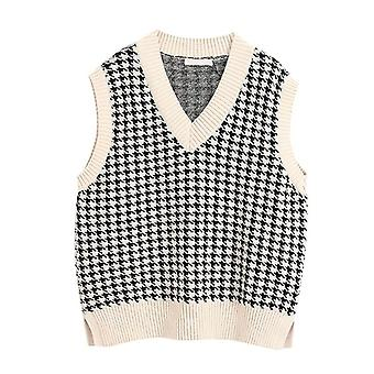 Silky Plaid Knitted Oversized Pullover Vintage Sleeveless V-neck Korean Female