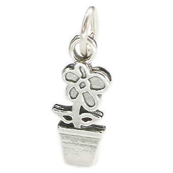 Flower In Pot Sterling Silver Charm .925 X 1 Flowers And Pots Charms - 4037
