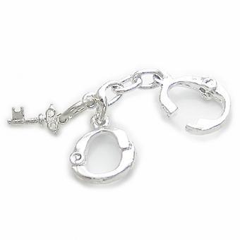 Menottes et clé Sterling Silver Charme .925 X 1 Manchettes sans ouverture - 4926