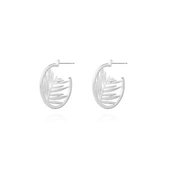 Joma Jewellery Statement Earrings Silver Palm Hoop Earrings 4412