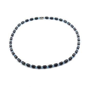 Simple Classic Magnetic Hematite Beads Necklace With Baby Spacer Beads, Healing