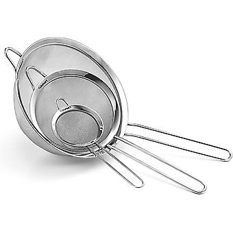 Set Of 3 Stainless Steel Baking Strainers