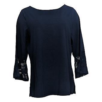 Belle By Kim Gravel Women's Top TripleLuxe Geometric Lace Sleeve Blue A344227