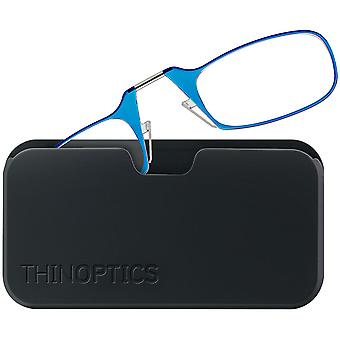 ThinOptics Armless Glasses with Universal Case - Blue Frame, Black Pod