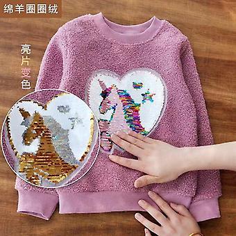 Mädchen Fleece Sweatshirt Mode dick Plüsch warmes Top verfärbte Pailletten Pullover