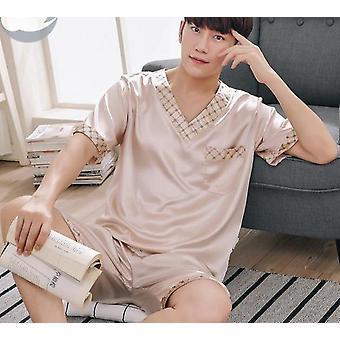 夏の半固体袖の男性パジャマ