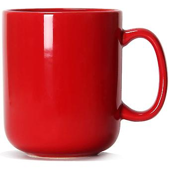 20 OZ Large Coffee Mug, DZK M016 Plain Ceramic Boss Cup with Handle for Dad Men, Red