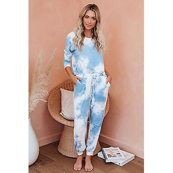 Casual Sky Blue Tie Dye Knit Long Sleeve Joggers Set