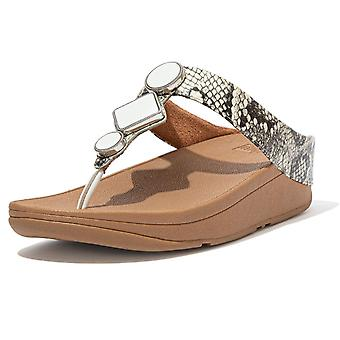 Fitflop Leia™ exóticas sandalias post de puntera en blanco urbano