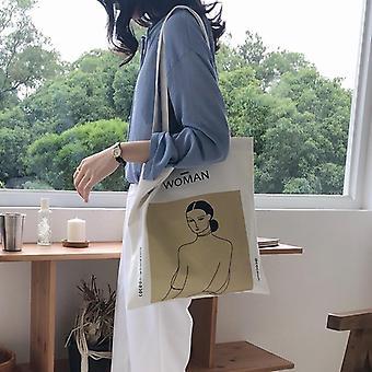 Personlighed Illustrationer Korea Fashion Canvas Student Tutorial Bag