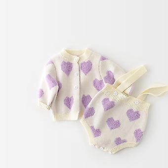 Baby-strickte Kleidung Set, Herz Body Baby Pullover