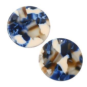 Zola Elementos Acetato Colgante, Moneda 28mm, 2 Piezas, Crepúsculo Azul