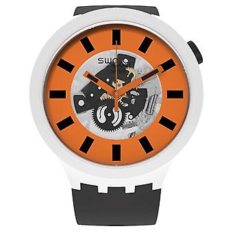 Swatch Sm03m104 Orack Svart, Orange & Vit SilikonKlocka