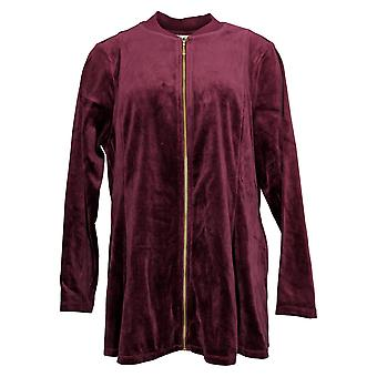 Denim & Co. Women's Velour Fit & Flare Jacket Rib Bomber Collar Red A372298