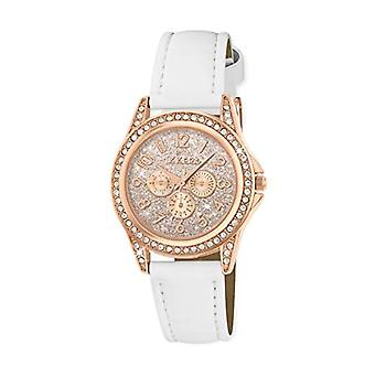 Tikkers Girl rose gold quartz watch with analog display and white leather-like strap TK0129