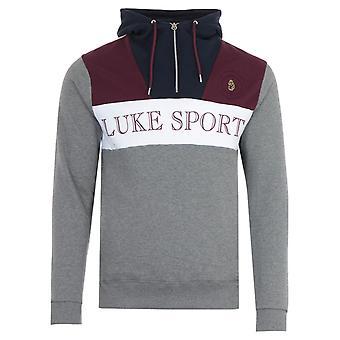 Luke 1977 Eleven Erife Quarter Zip Hooded Sweatshirt - Mid Marl Grey
