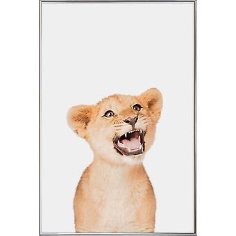 JUNIQE Print - Lion Cub - Lejonaffisch i Brunt
