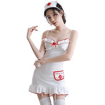 Regenboghorn Sexy Nurse Lingerie Nightdress Lace Sling Pajamas FL7982