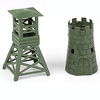 New 2pcs Watchtower Blockhouse Military Construction Figures Green ES12815