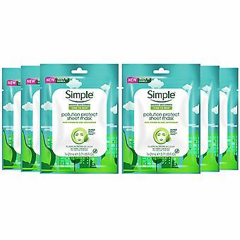 Protección contra la contaminación de la máscara de hoja simple, 6 paquetes