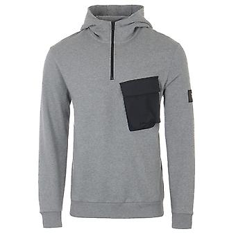 Lyle & Scott Pocket Organic Cotton Hooded Sweatshirt - Mid Grey Marl