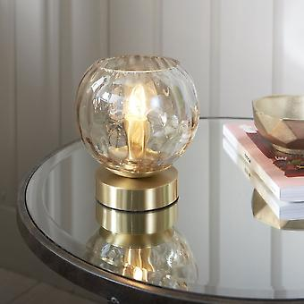 Endon Lighting Dimple Table Lamp In Brushed Brass & Champagne Lustre Glass